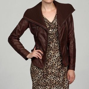 Michael Kors Leather Moto Jacket Asymmetric Zipper